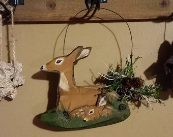 Doe and Fawn Ornement for everyday display or Christmas display