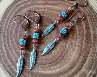 Copper Feather Patina with Dragon Orange Aged Czech Glass Beads.
