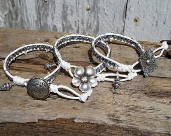 White Faux Leather and Silver Crystal, Wrap Bracelet