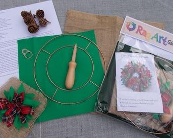 Festive Christmas Rag Rug Wreath Kit