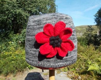 Grey Woolly  Rag Rug Poppy Hat
