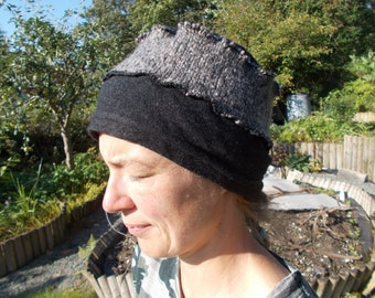 Black and grey upcycled woolly winter hat