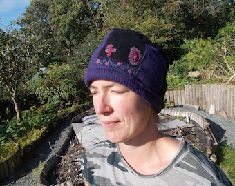 Black and purple embroidered beanie hat