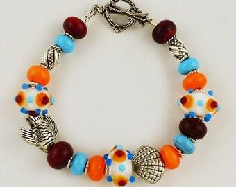 Colorful Handmade Lampwork Bead Bracelet