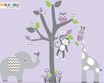 Cute Monkey Flowers Branch Tree Vinyl Wall Paper Decal Art Sticker X379