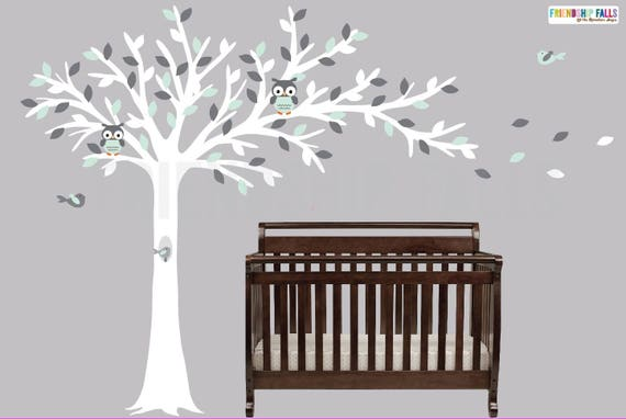 Weht Baum, Baum Eule, Eule Wandtattoo, Kinderzimmer Wandtattoo, Eule  Aufkleber, Wandtattoo Freundschaft fällt, Mint und grau-Szene