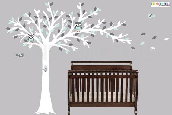 Baum weht, Eule Baum, Wandtattoo, Kinderzimmer Wandtattoo, Eule Aufkleber,  Wandtattoo Freundschaft fällt, weiche Aqua und grau-Szene
