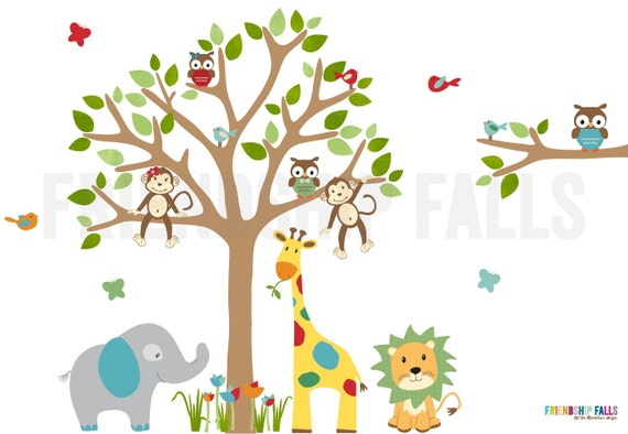 Dschungel Abziehbilder Dschungel Wandtattoos Kinderzimmer | Etsy