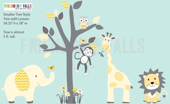 Girl Nursery Jungle Decal Nursery Wall Decal Grey Tree Cotton Candy Scene elephant Wall Decal Friendship Falls XXL Branch Tree Set