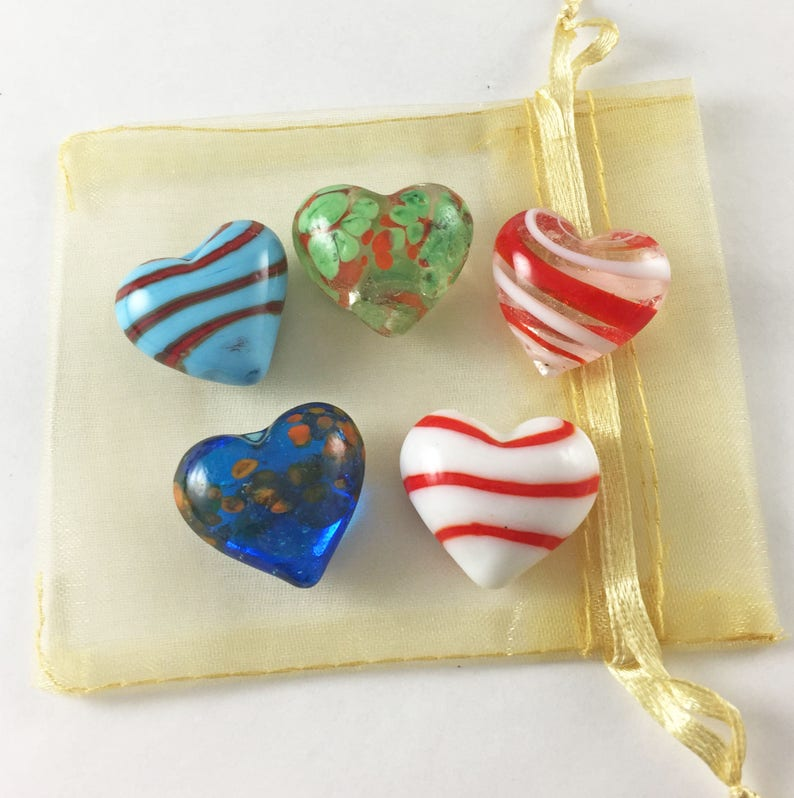 Set of 5 Multi-Colored Glass Pocket Hearts with Organza Bag image 0
