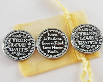 Set of 3 True Love Waits Pocket Tokens with Organza Bag