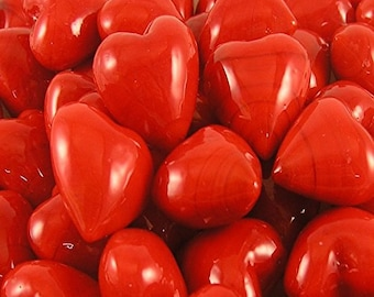 Set of 300 Red Glass Pocket Hearts- FREE US SHIPPING