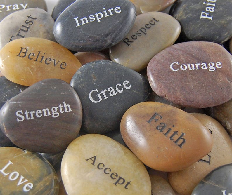 Engraved River Rock Word Stones  Single Words Sold image 0