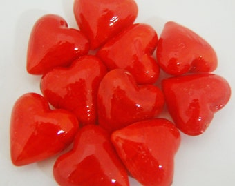 Set of 10 Red Glass Pocket Hearts
