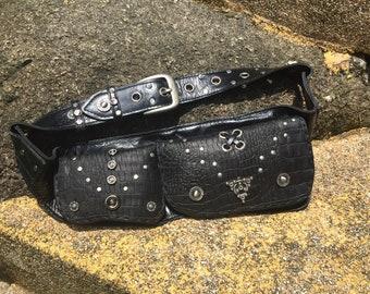 Leather Bag, Utility Bag, Black Hips Bag, Hip pocket, Handmade Belt Bag, Festival Wearing, Boom, Ozora