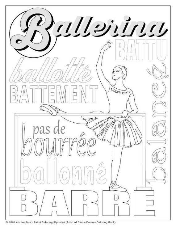 Letter B Ballet Alphabet Coloring Pages Girls Etsy