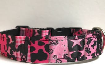 """1"""" cowgirl patchwork Dog collar, Leash Available"""