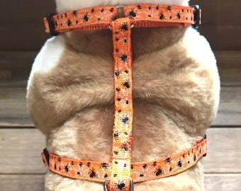 """3/8"""" Spiders and webs on Orange Harness or leash set"""