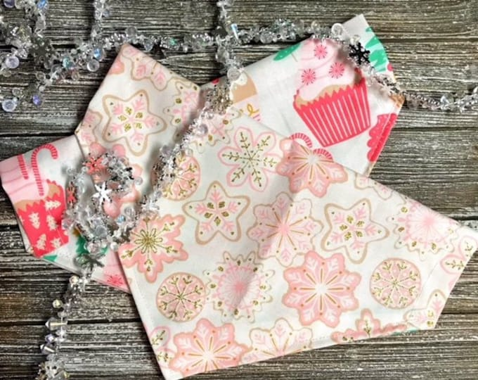 Featured listing image: Reversible Christmas Cupcake and Glitter Snowflake Bandana