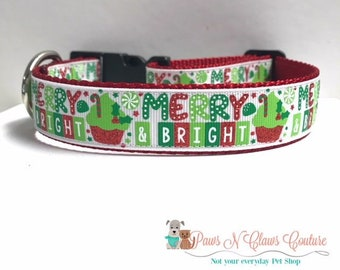 "1"" Merry & Bright Dog Collar"