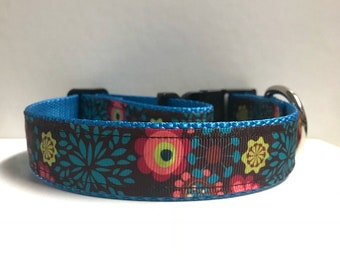 """1"""" Fall Floral on Brown Dog Collar"""