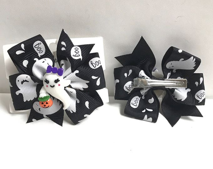 Ghost bow with charm hair bow clip