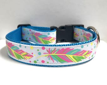 """1"""" Neon Feathers on Blue Dog Collar"""