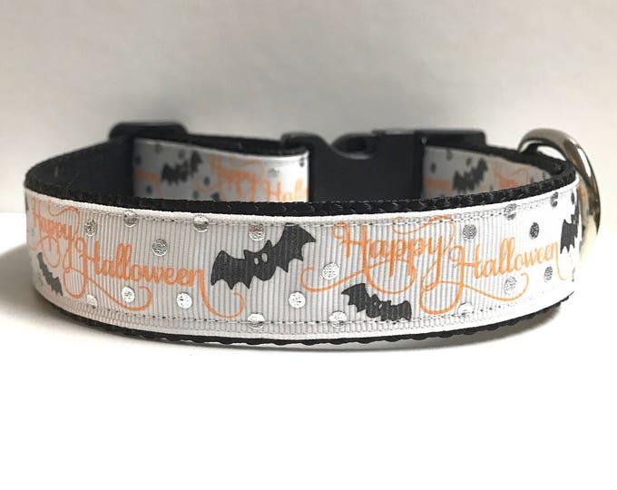 """1"""" Happy Halloween Bats Dog collar"""