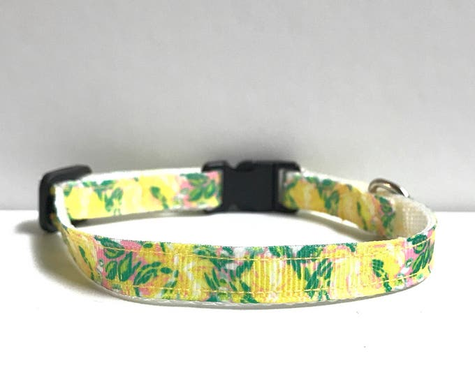 """3/8"""" Yellow flower lilly inspired collar"""
