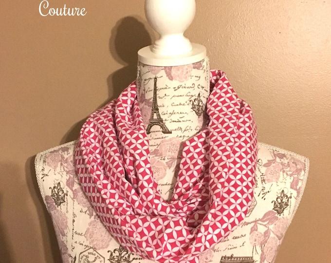Infinity scarf, pink diamonds