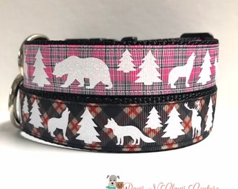 """1"""" Pink and grey plaid or Black and red plaid Dog Collar"""