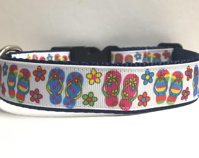 """1"""" Floral flip flops collar"""