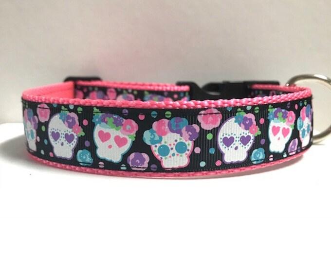 "1"" Floral Sugar Skulls Dog Collar"