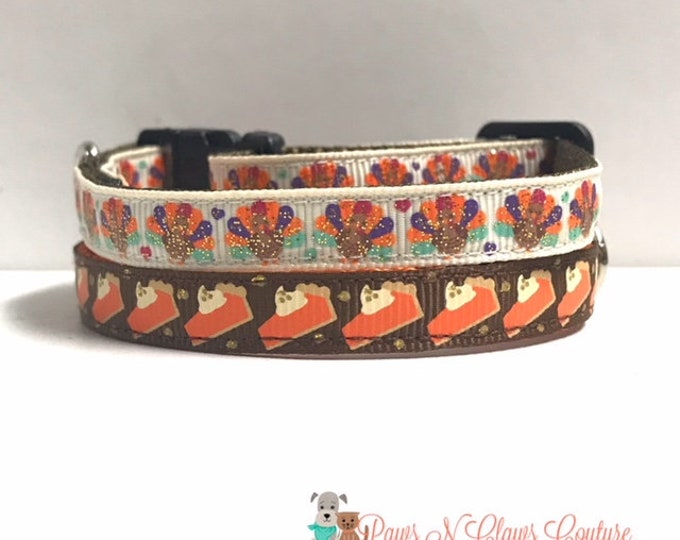 """Featured listing image: 3/8"""" Glitter Turkeys and Hearts or Pumpkin pie Slices Collar"""