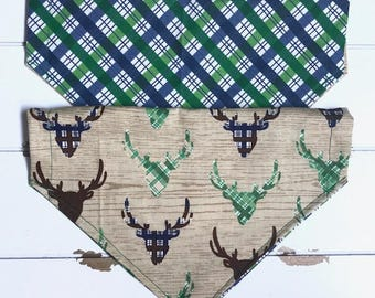 Reversible Green & Navy Plaid with deer Bandana