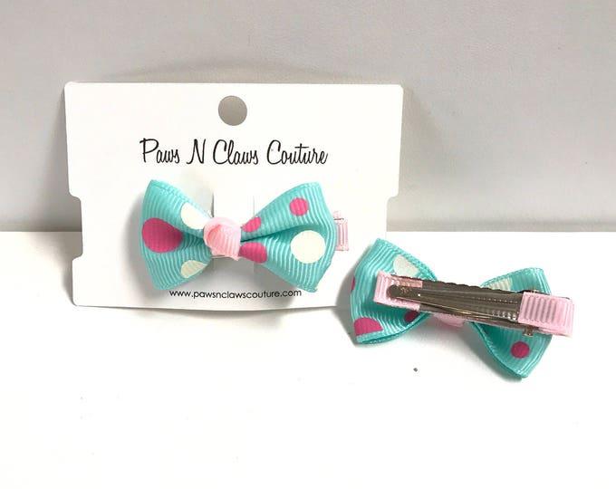 Aqua & pink with dots hair clip