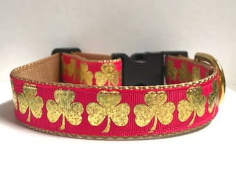 """1"""" Gold Foil Clovers on Pink Collar"""