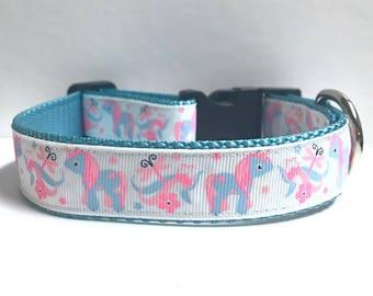 "1"" Unicorn, dragonflies & Flowers Dog collar"