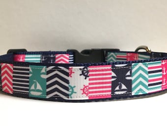 """1"""" Nautical Patchwork Collar, Leash Available"""