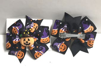 Pumpkins in Hats halloween hair bow clip with attached charm