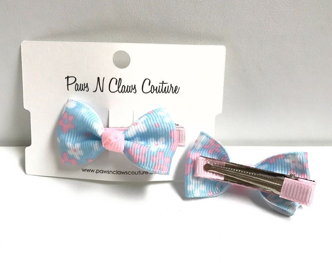 Blue & light pink floral hair clip