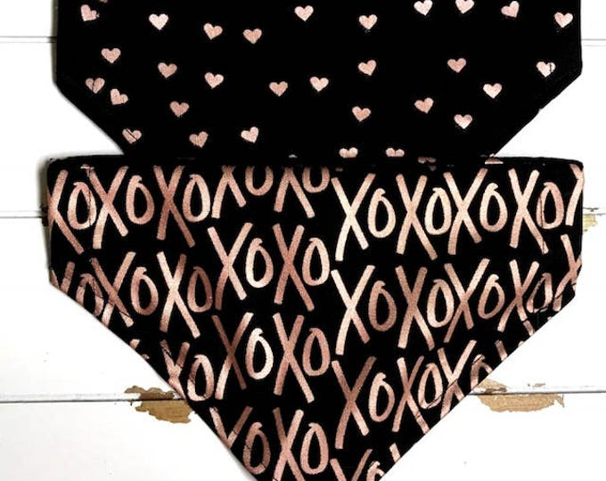 Reversible XOXO & Hearts on Black bandana