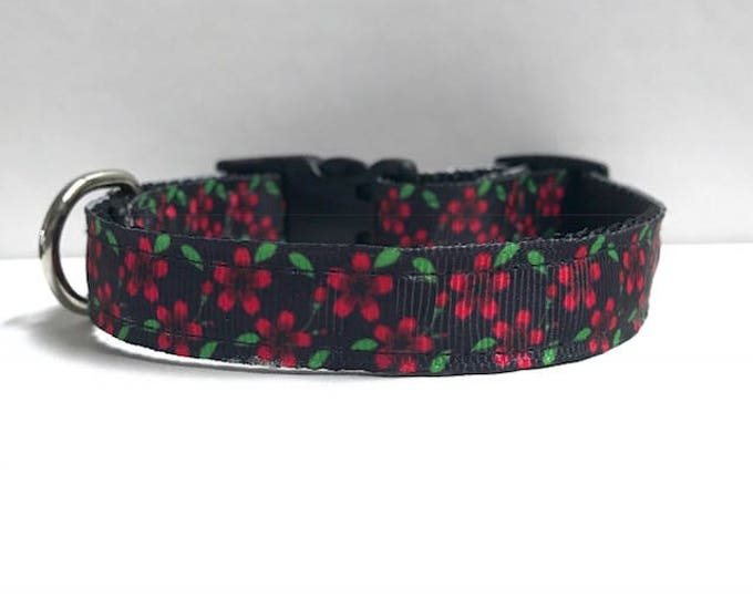 "5/8"" Black and pink green floral collar"