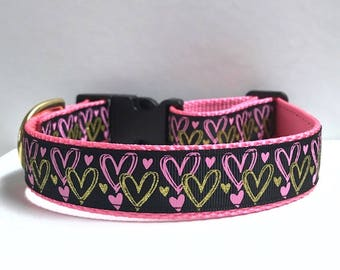 "1"" Pink & Gold Hearts Dog Collar"