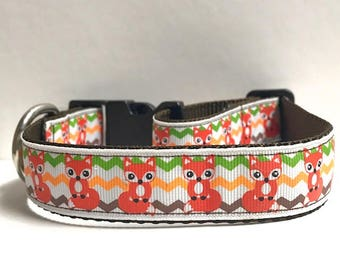 "1"" Fox & Chevron Dog Collar"