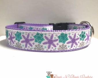 "1"" Teal & Purple Snowflake Dog Collar"