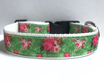 "1"" Flowers on green collar"