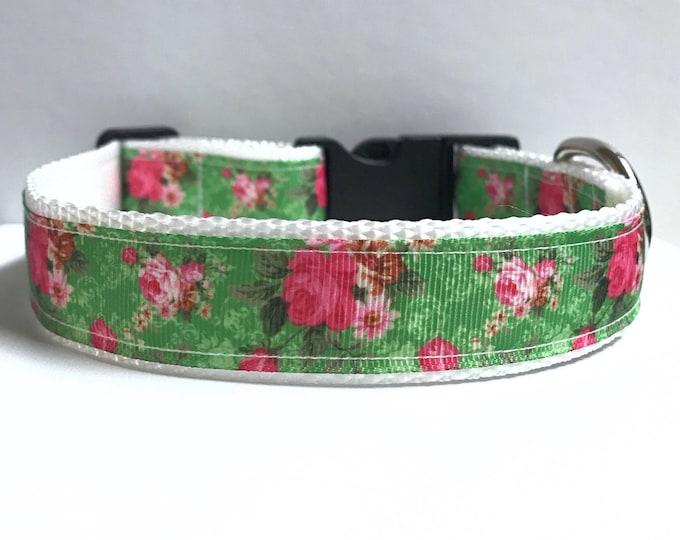 "1"" Flowers on green collar"