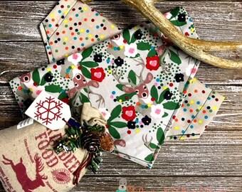 Reversible Christmas Deer and Dots Bandana