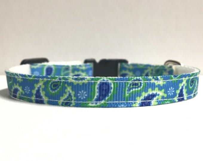 "3/8"" blue & green paisley collar"